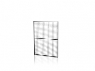 Tvoros segmentas su tvirtinimo detal. (Tinklo akutė 30x50mm, H=1300 W=1400mm, RAL9011)